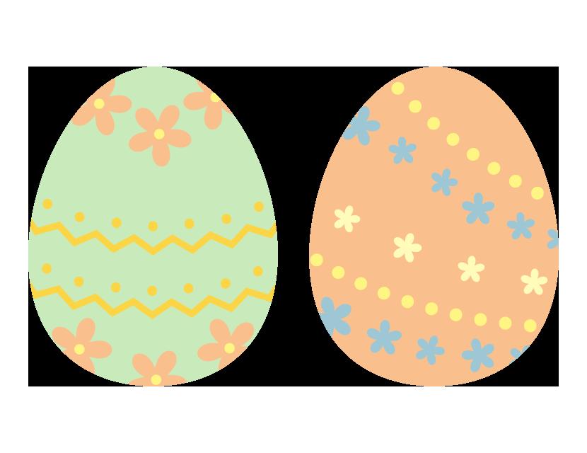 二つのかわいいイースターエッグのイラスト