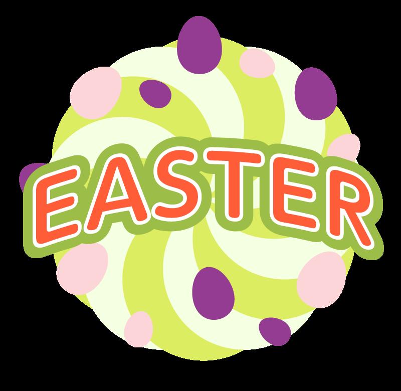 ポップな「HAPPY EASTER」の文字イラスト