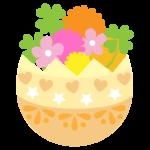 花とイースターエッグのイラスト