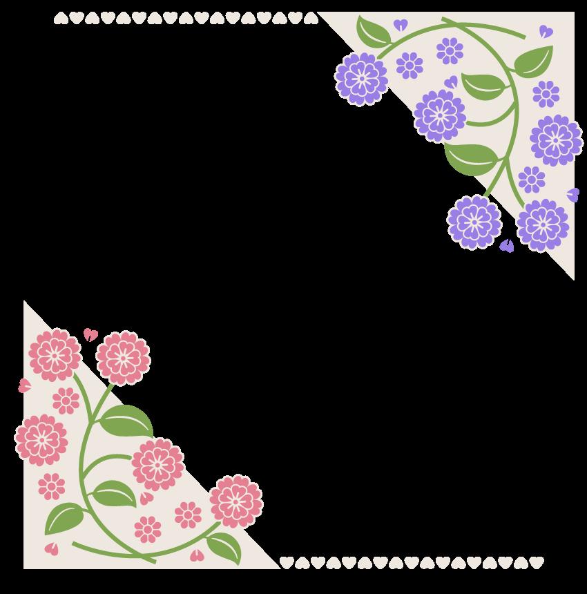 花とハートの上下のフレーム・飾り枠のイラスト