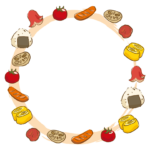 おにぎりや玉子焼きなどの手書き風のフレーム・飾り枠のイラスト