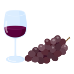 葡萄と赤ワインのイラスト