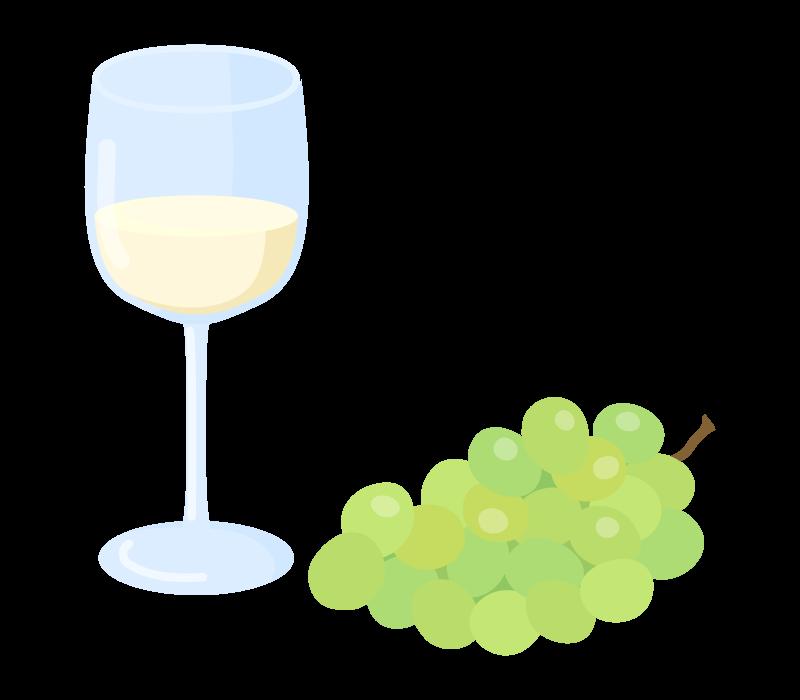 葡萄と白ワインのイラスト