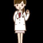 ガッツポーズをする女性のお医者さんのイラスト