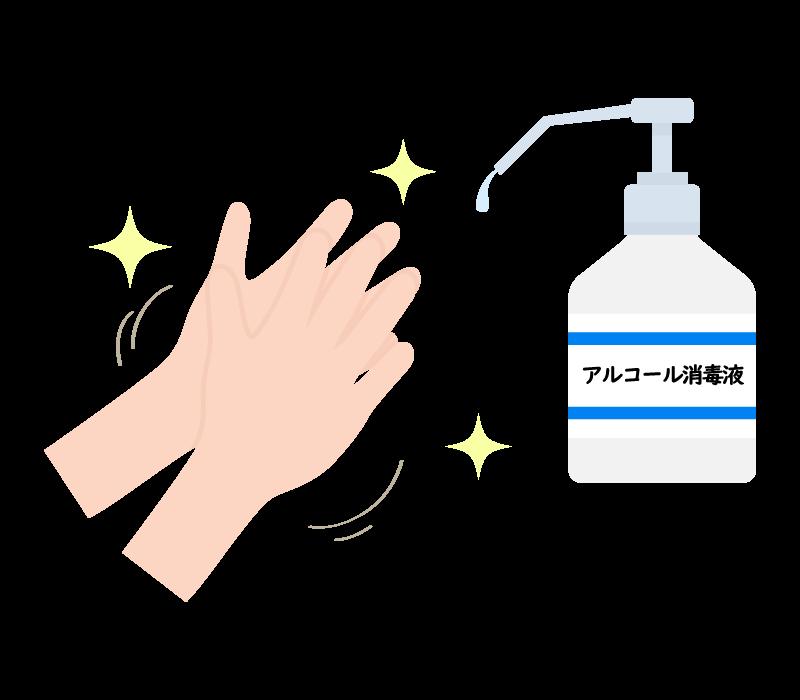 手をアルコール消毒しているイラスト