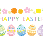 「HAPPY EASTER」の文字とイースターエッグのイラスト