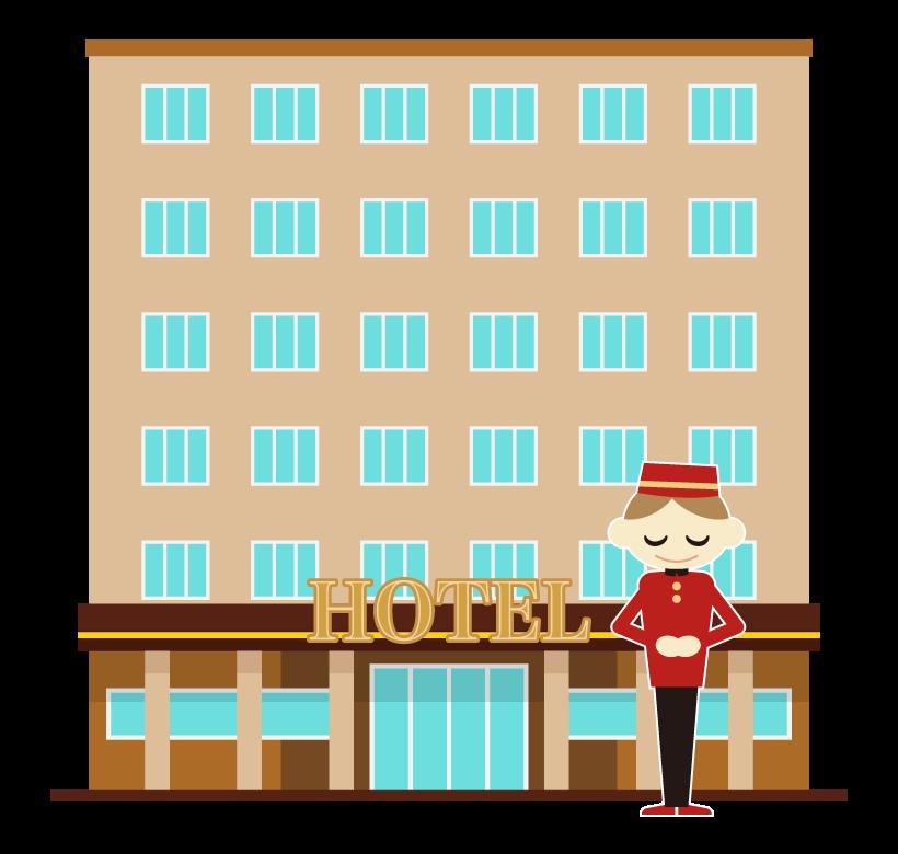 ホテルとポーターのイラスト