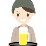 生ビールを運ぶ居酒屋の店員さんのイラスト