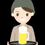 生ビールを運ぶ居酒屋の店員さんのイラスト