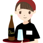 瓶ビールを運ぶ居酒屋の店員さんのイラスト