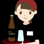 瓶ビールを運ぶ居酒屋の店員さんのイラスト