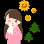 花粉症で目や鼻が真っ赤になる女性のイラスト