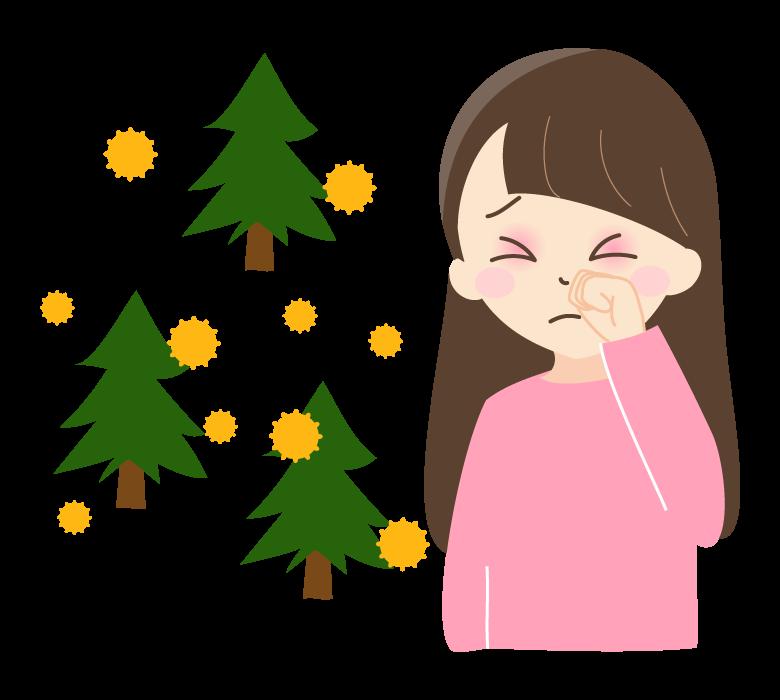 花粉症でつらそうな表情の女性のイラスト