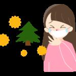花粉症でマスクをする女性のイラスト