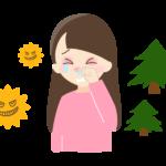 花粉症で涙や鼻水がでている女性のイラスト