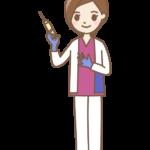 注射器と看護師(女性)さんのイラスト