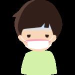 体調不良でマスクをしている男の子のイラスト