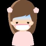 体調不良でマスクをしている女の子のイラスト