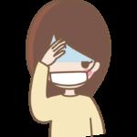 頭痛や風邪でマスクをしている女性のイラスト