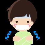 風邪や寒気でマスクをしている男の子のイラスト