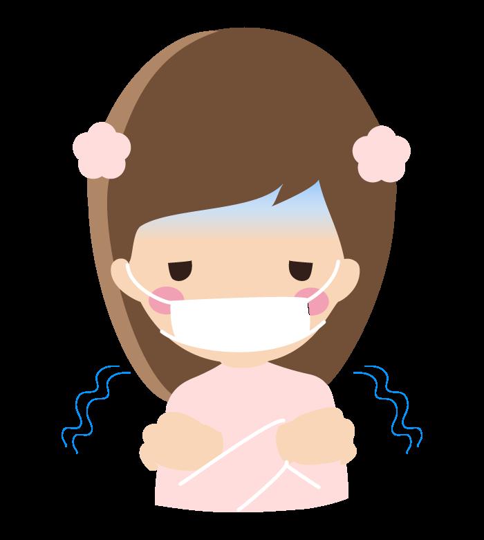 風邪や寒気でマスクをしている女の子のイラスト