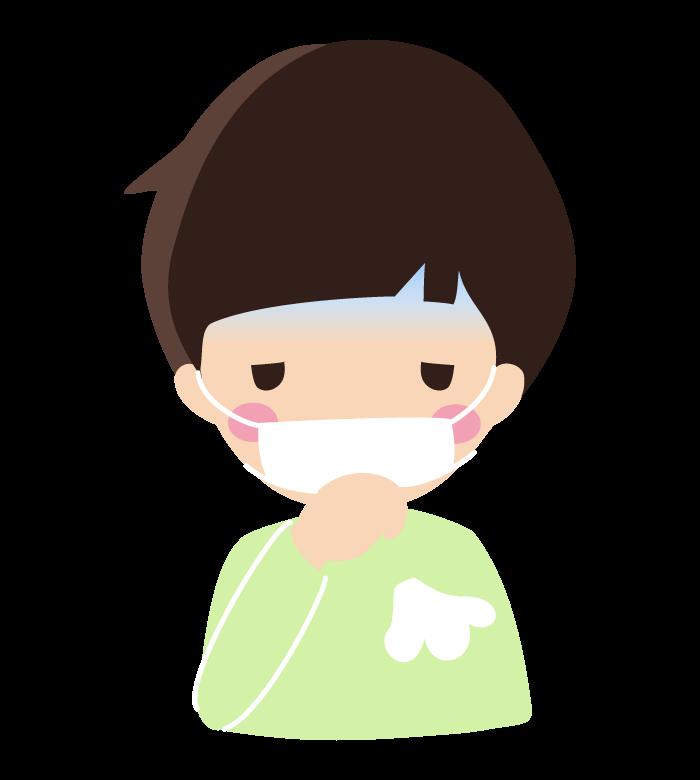 マスクをしながら咳をしている男の子のイラスト