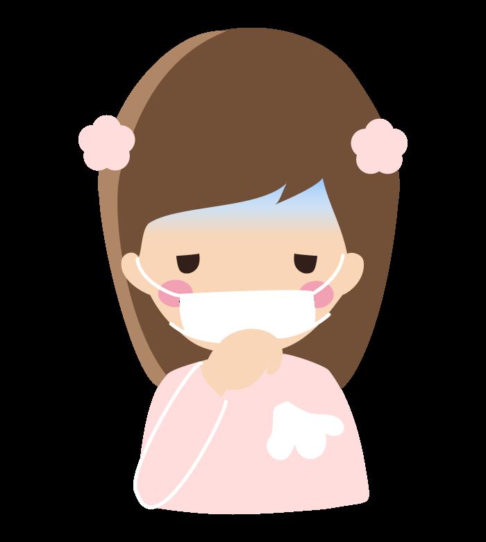 マスクをしながら咳をしている女の子のイラスト