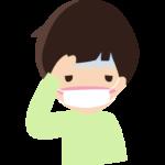 頭痛や風邪でマスクをしている男の子のイラスト