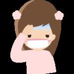 頭痛や風邪でマスクをしている女の子のイラスト