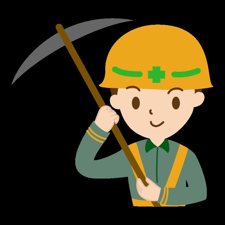 ツルハシを持った工事作業員のイラスト