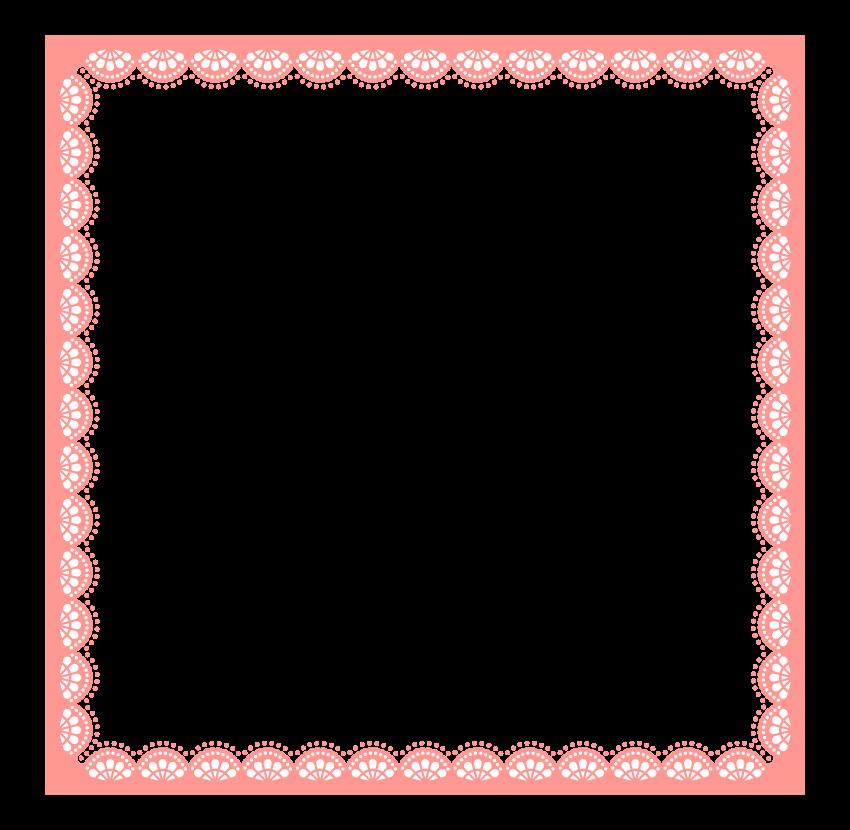 ピンク色のレースのフレーム・飾り枠のイラスト