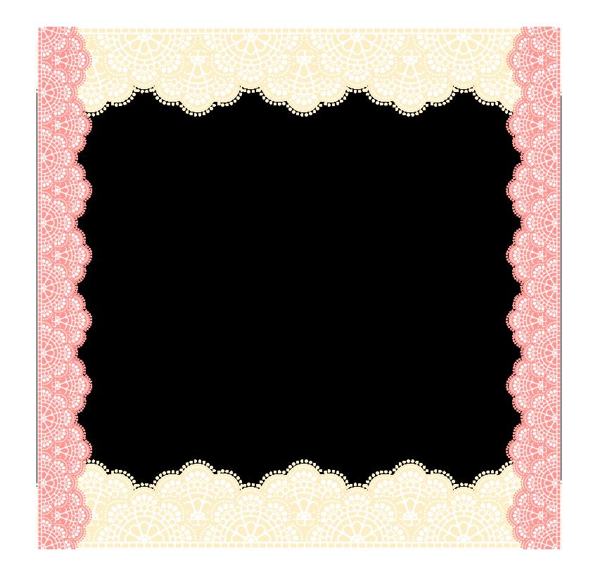 黄色とピンク色のレースのフレーム・飾り枠のイラスト