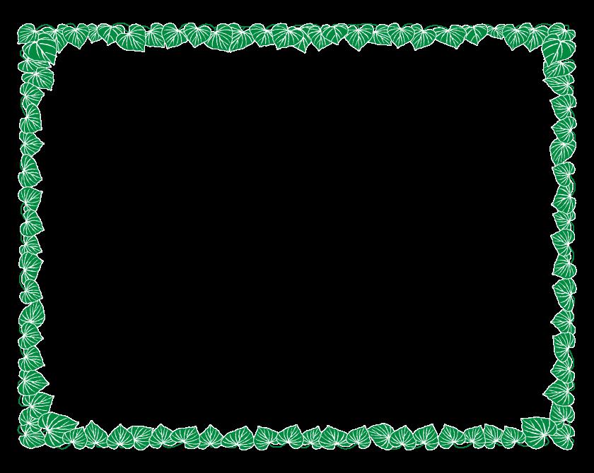 たくさんの葉っぱのフレーム・飾り枠のイラスト