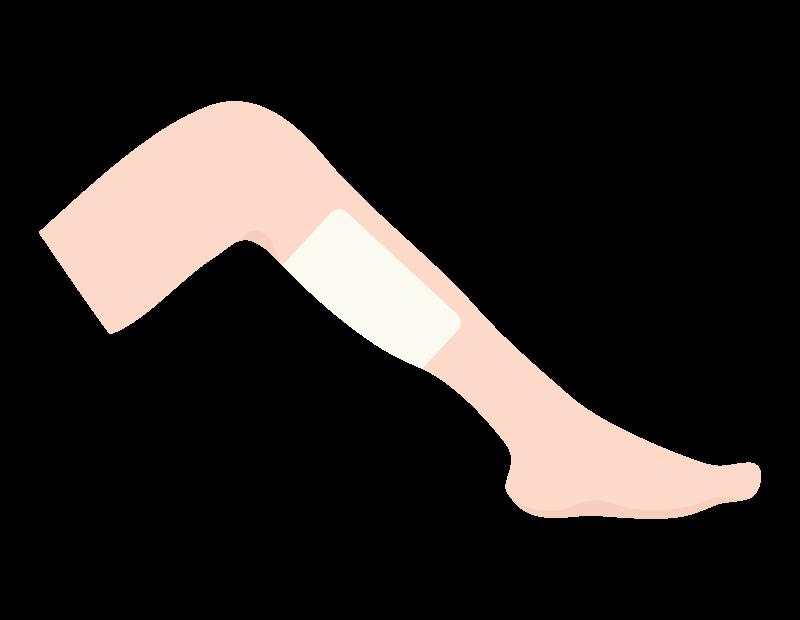 足と湿布のイラスト