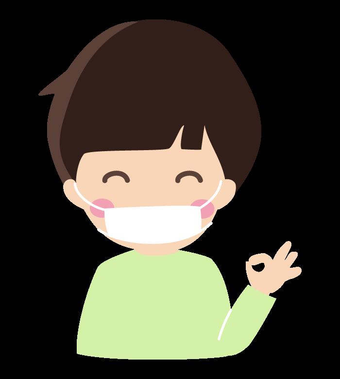 マスクで風邪予防する男の子のイラスト