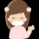 マスクで風邪予防する女の子のイラスト