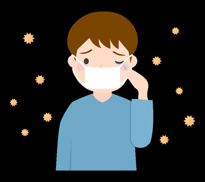 花粉症でマスクをする男性のイラスト