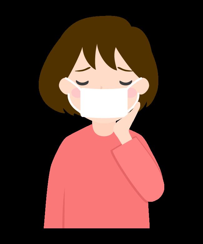 マスクをして具合が悪そうな女性のイラスト