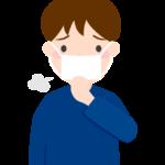 マスクと咳の男性のイラスト