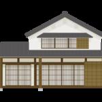 二階建ての和風住宅のイラスト