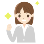 ガッツポーズをする新入社員(女性)のイラスト