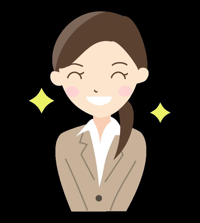 笑顔の新入社員(女性)のイラスト