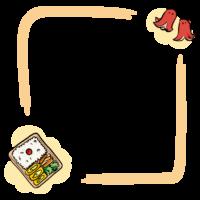 お弁当の手書き風のフレーム・飾り枠のイラスト