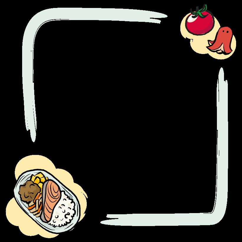 鮭弁当の手書き風のフレーム・飾り枠のイラスト