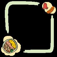 鶏そぼろ弁当の手書き風のフレーム・飾り枠のイラスト