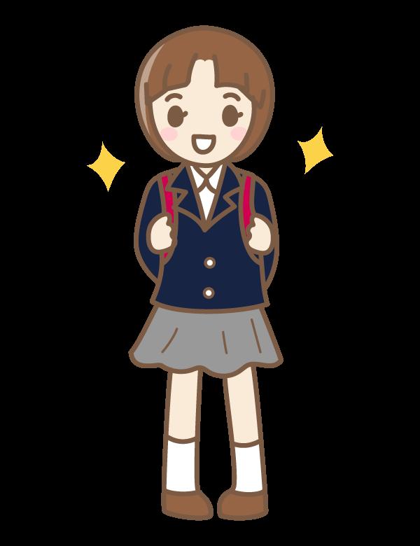小学校入学の女の子のイラスト