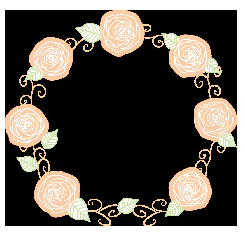 サークル状の手書き風のバラ(薔薇)のフレーム・飾り枠のイラスト