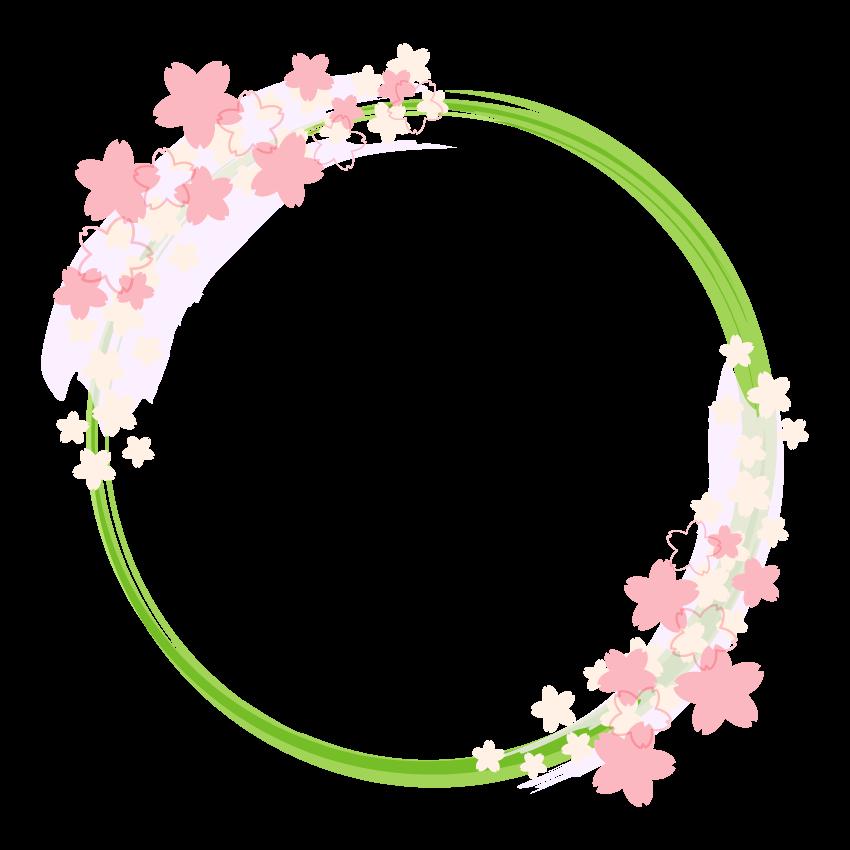 和風の桜の円形フレーム・飾り枠のイラスト