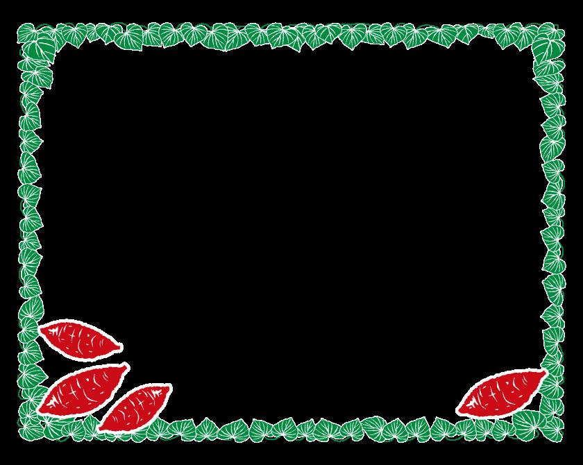 サツマイモと葉っぱのフレーム・飾り枠のイラスト