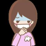 マスクをしながら咳をしている女性のイラスト